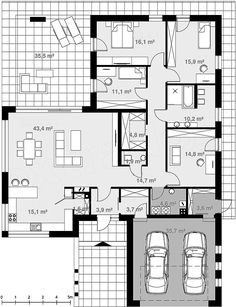 Moderna lepotica Kuća koja će vas osvojiti na prvi pogled Best House Plans, Dream House Plans, Modern House Plans, House Floor Plans, Small House Layout, House Layouts, House Plans Mansion, Bedroom House Plans, The Plan
