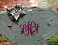 Comfort Colors Long Sleeve Glitter Monogram T shirt with monogram hair now - monogrammed gifts for girls, by PoshPrincessBows1