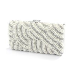 Soft Cream White Pearl Rhinestone Bridal Prom Evening Handbag Wedding Purse #EveningBag