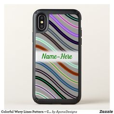 Colorful Wavy Lines Pattern + Custom Name Cool Phone Cases, Iphone Case Covers, Line Patterns, Create Your Own, Colorful, Cool Stuff, Cool Things
