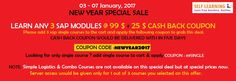 NEW YEAR SALE - LEARN ANY 3 SAP COURSES @ 99 $  + 25 % CASH BACK COUPON ( OFFER VALID from 03rd to 07th, JAN'17 ) - http://www.selflearningsap.com  We have the training solutions for the modules like SAP SD, CRM, QM, FIORI , BPC10 , HANA S4 simple finance,  MM ,  ABAP,  FICO,  APO, WM,  EWM , BO 4.1 , BI 7.3, PI 7.4,PP, HR/HSM , BASIS  HANA ,  ABAP Webdynpro & OOPs.