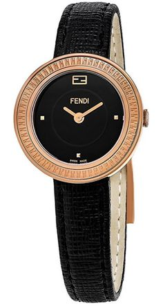 Fendi MyWay Women's-small 28 MM Black Face Black Leather Strap Swiss Plated Rose Gold Watch