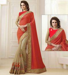 Designer Banrasi Silk Georgette Saree With Rassal Net Jequerd Georgette& Two Tone Banarasi Silkblouse Fabric
