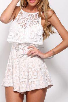 Cute White Lace Romper