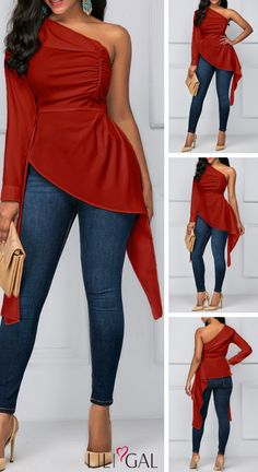 Asymmetric Hem One Sleeve Ruched Blouse   #liligal #blouse