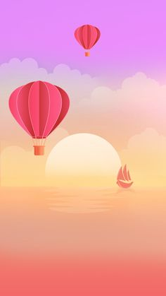 Simple balloon art in the sea horizon, pink sky illustrator. Pink Sky, Pink Love, Cellphone Wallpaper, Simple Designs, Besties, Illustrator, Balloons, Backgrounds, Calm