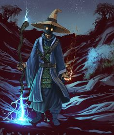 A version of the Black Mage from Final Fantasy whatev. Fantasy Wizard, Fantasy Warrior, Fantasy Rpg, Medieval Fantasy, Dark Fantasy, Fantasy Character Design, Character Inspiration, Character Art, Character Concept