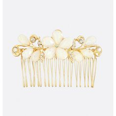 Avenue Iridescent Floral Hair Comb ($10) ❤ liked on Polyvore featuring accessories, hair accessories, gold, plus size, hair comb, floral hair accessories, beaded hair combs, rhinestone comb and hair comb accessories