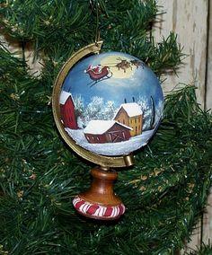 RESERVED...Santa Sleigh Globe Christmas Ornament Hand Painted  Folk Art .....Reserved....TTOFG. $10.00, via Etsy.