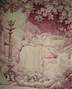 Morgaine Le Fay antique Textiles and More: Sleeping Beauty, a French toile c1920 in 2 colourways