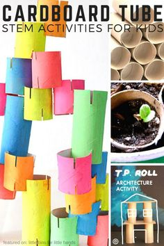 Cardboard tube STEM activities for kids to try using cardboard rolls or tubes or even toilet paper rolls. Recycled STEM projects for Earth Day activities too! Cardboard STEM is cheap and easy to set up for home STEM activities or even classroom STEM acti Earth Day Activities, Steam Activities, Preschool Activities, Recycling Activities For Kids, Stem Preschool, Activities For Children, Recycling Games, Children's Day Activities, Indoor Activities