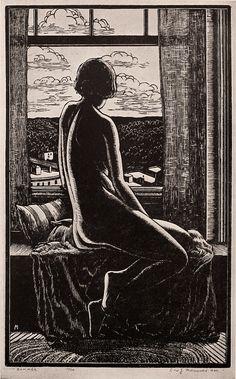 Leo John Meissner's woodcut Summer, 1929 Woodcut Art, Linocut Prints, Art Prints, Block Prints, Gravure Illustration, Illustration Art, Illustrations, Arte Obscura, Wood Engraving