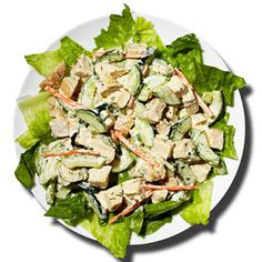 Greek Yogurt Chicken Salad:Combine 3 tablespoons nonfat Greek yogurt; 1/2 teaspoon mustard; 1 teaspoon low-fat mayonnaise; 2 tablespoons chopped celery; 1/2 medium carrot, chopped; 1 tablespoon chopped parsley; and 1 tablespoon chopped chives. Toss with 1 cup chopped cooked chicken. Whisk together 1 cup sliced cucumber, 2 tablespoons white vinegar, 1teaspoon olive oil.