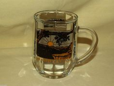 GRAND CANYON MUG SOUVENIR GLASS COFFEE TEA CUP GOLD BLACK YELLOW USA 33 SSI