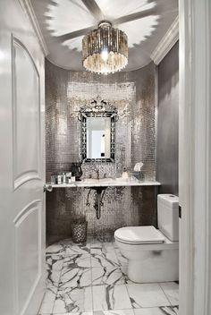 Love the metallic tile and marble floor. South Shore Decorating Blog: 50 Favorites For Friday (#105)