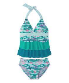 233a26e43681 Multi Turquoise Coral Ruffle Halter Tankini - Toddler   Girls Halte Durch
