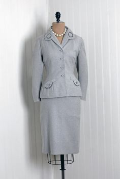 Items similar to 1940's Vintage Pale-Gray Deco Wool-Couture Hourglass Atomic-Circles Pockets Nipped-Waist Bombshell Pencil-Wiggle Cocktail Dress-Jacket Suit on Etsy