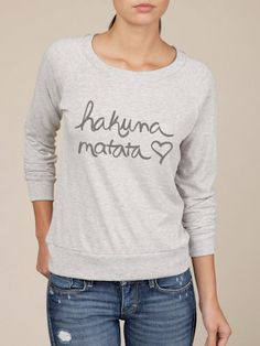 Hakuna Matata Eco Slouchy Long Sleeve Pullover in Oatmeal and Grey - I'm pretty sure I need this
