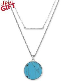 Lucky Brand Silver-Tone Reconstituted Turquoise and Bar Layered Necklace