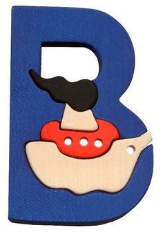 Montessori Waldorf wooden puzzle letter Boat made by от Ludimondo, $6.00