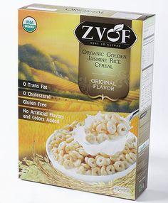 Zvof Organic Golden Jasmine Rice Cereal : Original Flavor   GLUTEN-FREE LOW SUGAR LEAST PROCESSED CEREAL  made with whole organic Jasmine rice grain available in both USDA Organic and Eu Organic