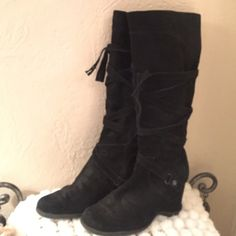 Tall leather black boots Great condition fit more like a 9. a.n.a Shoes Heeled Boots