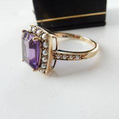 Amethyst Jewelry, Amethyst Stone, Purple Amethyst, Engagement Rings Under 500, Seed Pearl Ring, Pretty Rings, Carat Gold, Beautiful Earrings, Band Rings