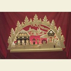 Candle Arches Fret Saw Work 3D-Double-Arch - Water Mill - 74x47x5,5 cm / 29x18x2 inches