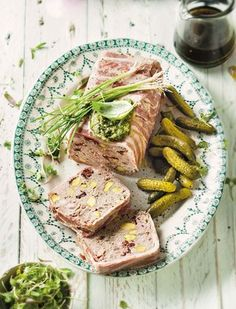 Pork terrine with pistachio and berries