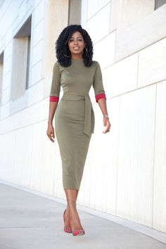 Olive Contrast Sleeve Midi Dress