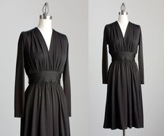 70s Vintage Black Joy Stevens Draped Tie Back Dress / by decades, $78.00