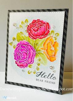 My Princess-Peaches Card Designs: Hello Dear Friend: Mama Elephant Organic Blooms #cardmaking