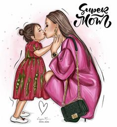 Mother And Daughter Drawing, Mother Art, Mom Dad Baby, Beach Illustration, Illustration Artists, Girly M, Fashion Artwork, Animated Love Images, Mom Cards