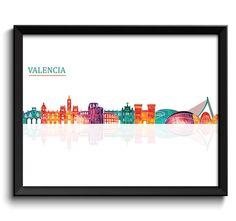 Valencia Skyline City Colorful Cityscape by CityPrintsYourWay