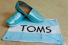 blue sequined TOMS shoes