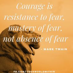 """""""Courage is resistance to fear, mastery of fear, not absence of fear."""" - Mark Twain  #yourworldwithin"""