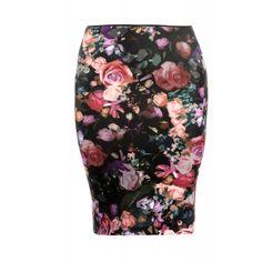 Patrizia Pepe Black Multi Floral Print High Waist Pencil Skirt ($92) ❤ liked on Polyvore featuring skirts, bottoms, black multi, high waisted skirts, flower print skirt, pencil skirt, high-waisted skirts and floral print pencil skirt