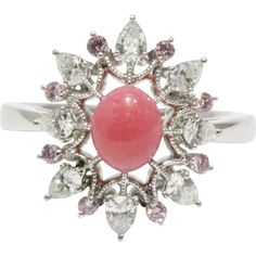 #VintageBeginsHere with jewelry for Mom! WOW! www.rubylane.com @Ruby Lane Rare Mikimoto Conch Pearl Diamond Pink Sapphire Platinum Cluster Ring