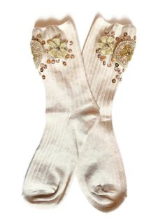Embellished socks Jeweled with Rhinestones Sequins and by JolieCie