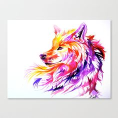 Sunset Wolf Stretched Canvas by Katy Lipscomb - $85.00