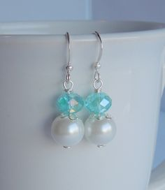 Turquoise Aqua Crystal and White or Cream by Sarahkayejewelry2, $6.00