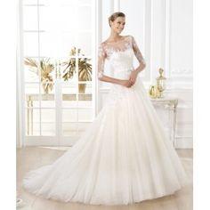 Graceful Boat Neckline 3/4 Sleeves Taffeta Lace Wedding Dress