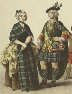 "English And Scottish Dress, 18th Century. [Illustration created in the 19th century by  Albert Kretschmer (1825-1891)].  Printed on border: ""Scotch: 11. Lady of rank ; 12. Highland gentleman."""