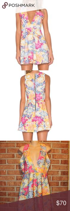 NBD X Naven Twins Tropical Dress NBD X Naven Twins Tropical Dress. Size:  Small. Length: Approximately 32 inches.  Approximately 17 inches from armpit to armpit. Waist: Approximately 27.5 inches. Floral print. Deep V-Neck. Exposed rear zipper. Top is lined. 100% Polyester. NBD Dresses