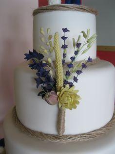 handmade flower paste flowers: delphinium, lavender, oats, barley, wheat, chrysanthemum and poppy seed head