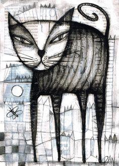 Outsider Art Show | Details about DAN CASADO outsider folk art CAT original collage ...