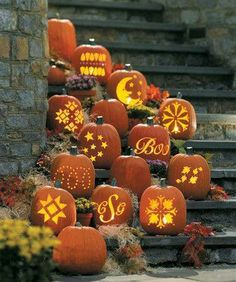 Carved Pumpkins  - Picture Colors:  Orange, Yellow, Grey