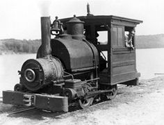 Portage Flyer power. A crewman looks out of the generous cab of tiny 0-4-0T No. 2 in the early 1940s. H&LB locomotives had whistles and bells.