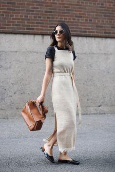 . Cream weave dress Nanushka . Brown leather Puzzle bag Loewe (or get it here & here) . Black leather flat Lucia mules LOQ