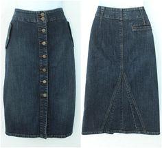 #RalphLaurenDenim Pencil Skirt Button Down Unique Stitching #BirdyLane